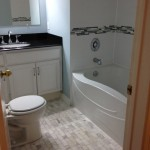 Installation of floor tub, tile and granite